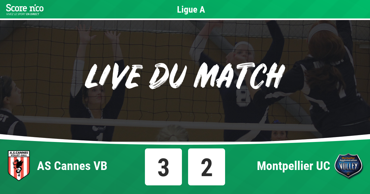 as cannes vb - montpellier uc - volley - score n'co